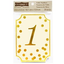 Celebrate It Occasions Table Card Numbers, Gold Dots