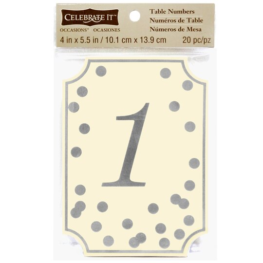 Table Number Holders Michaels Celebrate It™ Occasions™ Table Card Numbers, Silver Dots