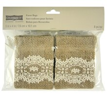 "Celebrate It Occasions Burlap & Lace Favor Bags, 3"" x 4"""