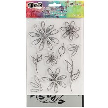 Dylusions Stamp & Stencil Set, Floral Flourish