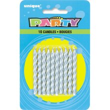 Spiral Silver Birthday Candles, 10ct
