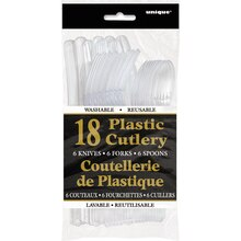 Assorted Plastic Cutlery Set for 6, Clear, Package