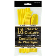 Assorted Plastic Cutlery Set for 6, Yellow, Package