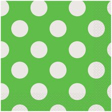 Lime Green Polka Dots Luncheon Napkins, 16ct