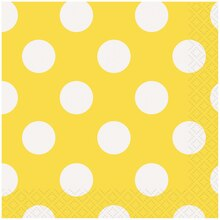 Yellow Polka Dots Beverage Napkins, 16ct