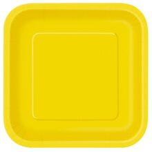 "7"" Square Yellow Dessert Plates, 16ct"