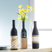 Burlap-Wrapped Wine Bottle Trio