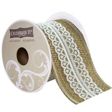 Celebrate It Occasions Burlap & Flower Lace Ribbon