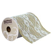 Celebrate It Occasions Rose Lace Wired Burlap Ribbon with Glitter