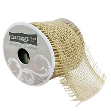 """2.5"""" Burlap Frayed Ribbon by Celebrate It Occasions, Natural"""