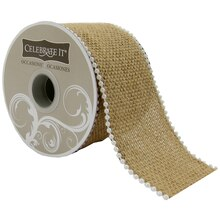 Celebrate It Occasions Wired Burlap Ribbon with Beading