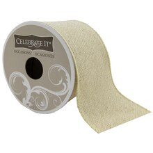 Celebrate It Occasions Wired Cotton Metallic Ribbon, Gold