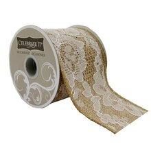 Celebrate It Occasions Wired Burlap & Lace Ribbon, 2 1/2""