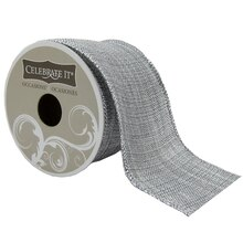 Celebrate It Occasions Silver Burlap Wired Ribbon