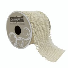 Celebrate It Occasions Frayed Burlap Ribbon, Ivory