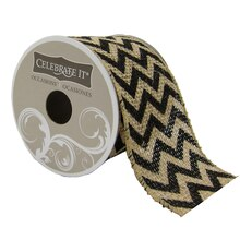 Celebrate It Occasions Chevron Burlap Wired Ribbon, Black
