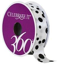 "Celebrate It 360 Satin Ribbon, Black Dots, 7/8"""