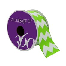 Celebrate It 360 Grosgrain Ribbon with White Chevron, Green