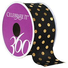Celebrate It 360 Grosgrain Ribbon with Gold Dots, 1 1/2""