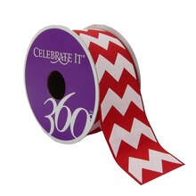 Celebrate It 360 Grosgrain Ribbon with White Chevron, Red