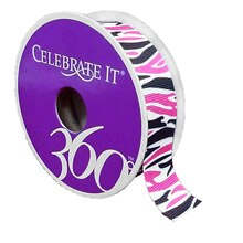 Celebrate It 360 Grosgrain Ribbon, Pink & Black Zebra