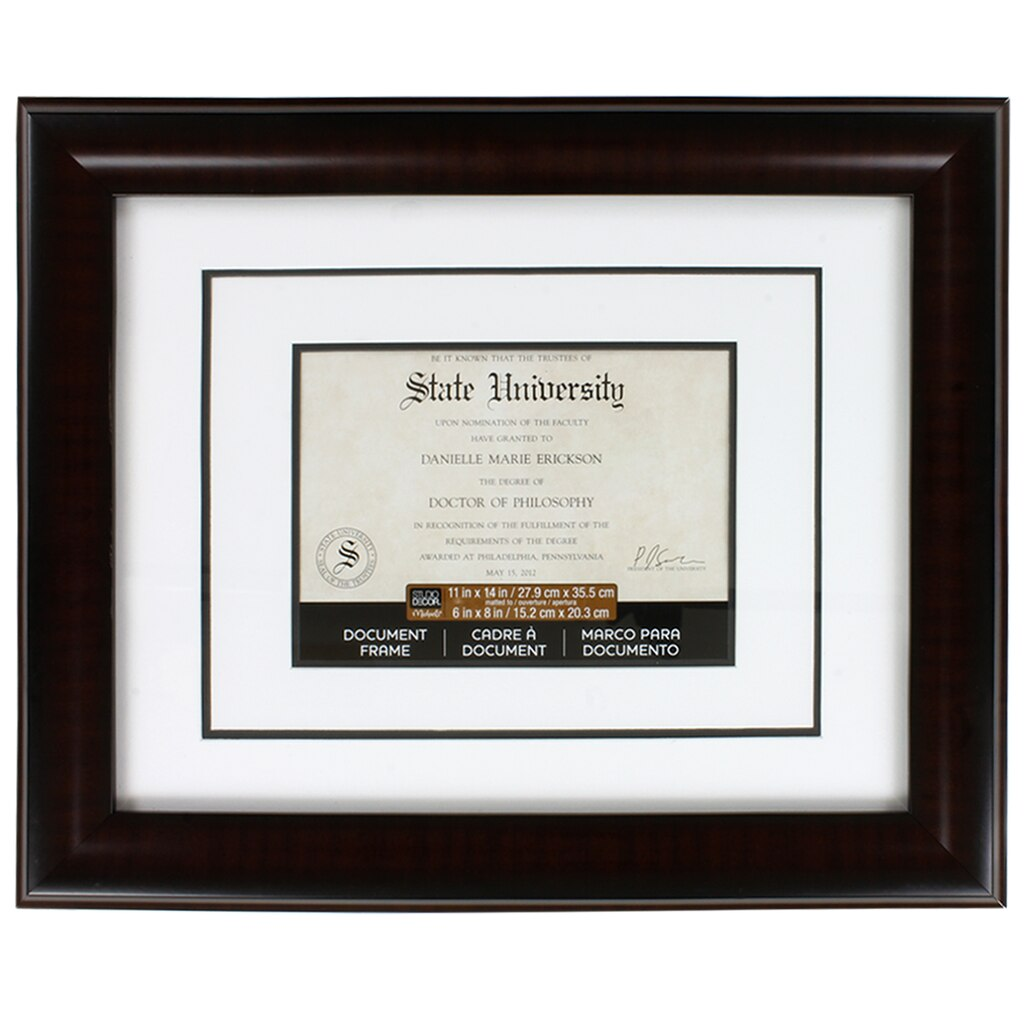 mahogany document frame 11 x 14 with 6 x 8 double mat by studio d cor. Black Bedroom Furniture Sets. Home Design Ideas