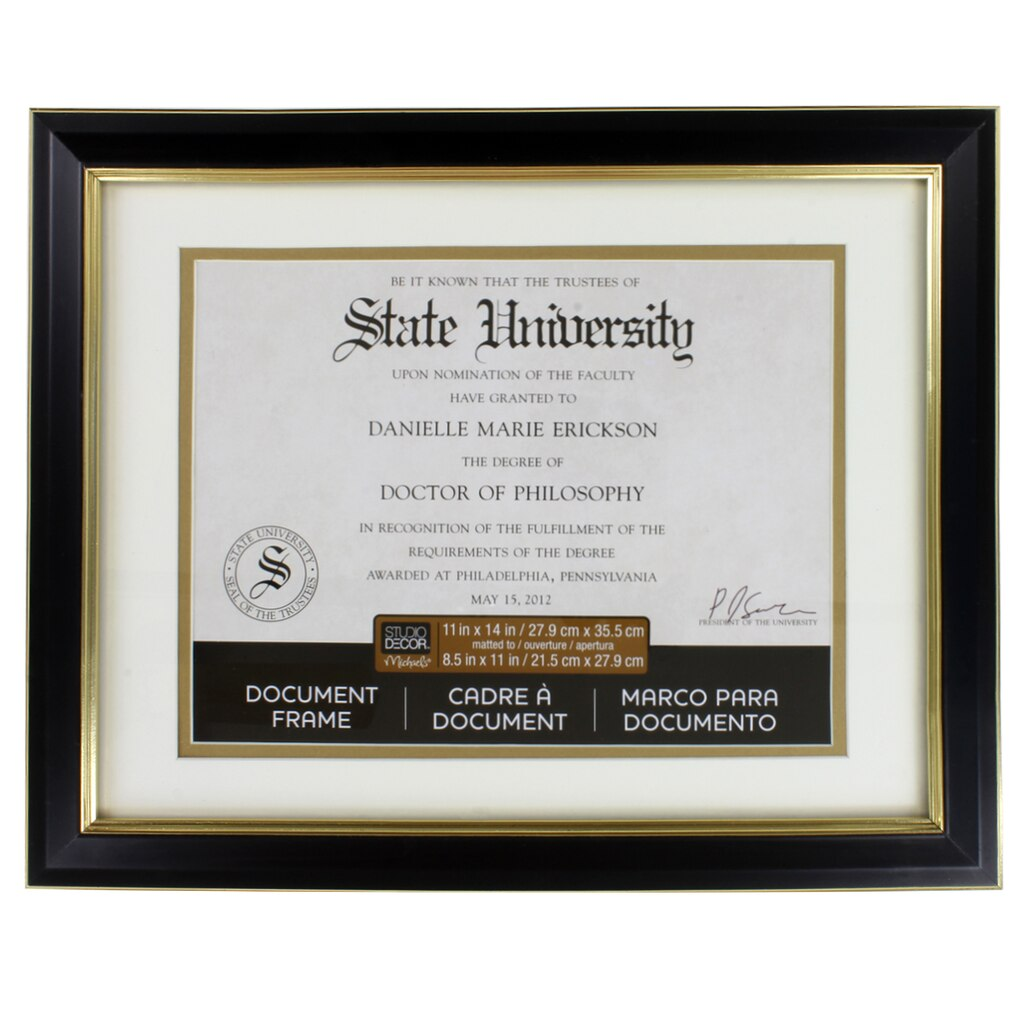 Black Amp Gold Document Frame 11 Quot X 14 Quot With 8 5 Quot X 11
