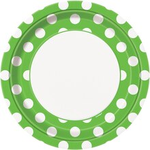 "9"" Lime Green Polka Dots Dinner Plates, 8ct"