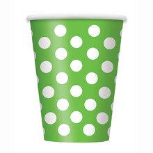 12oz Lime Green Polka Dots Paper Cups, 6ct
