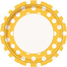 "9"" Yellow Polka Dots Dinner Plates, 8ct"