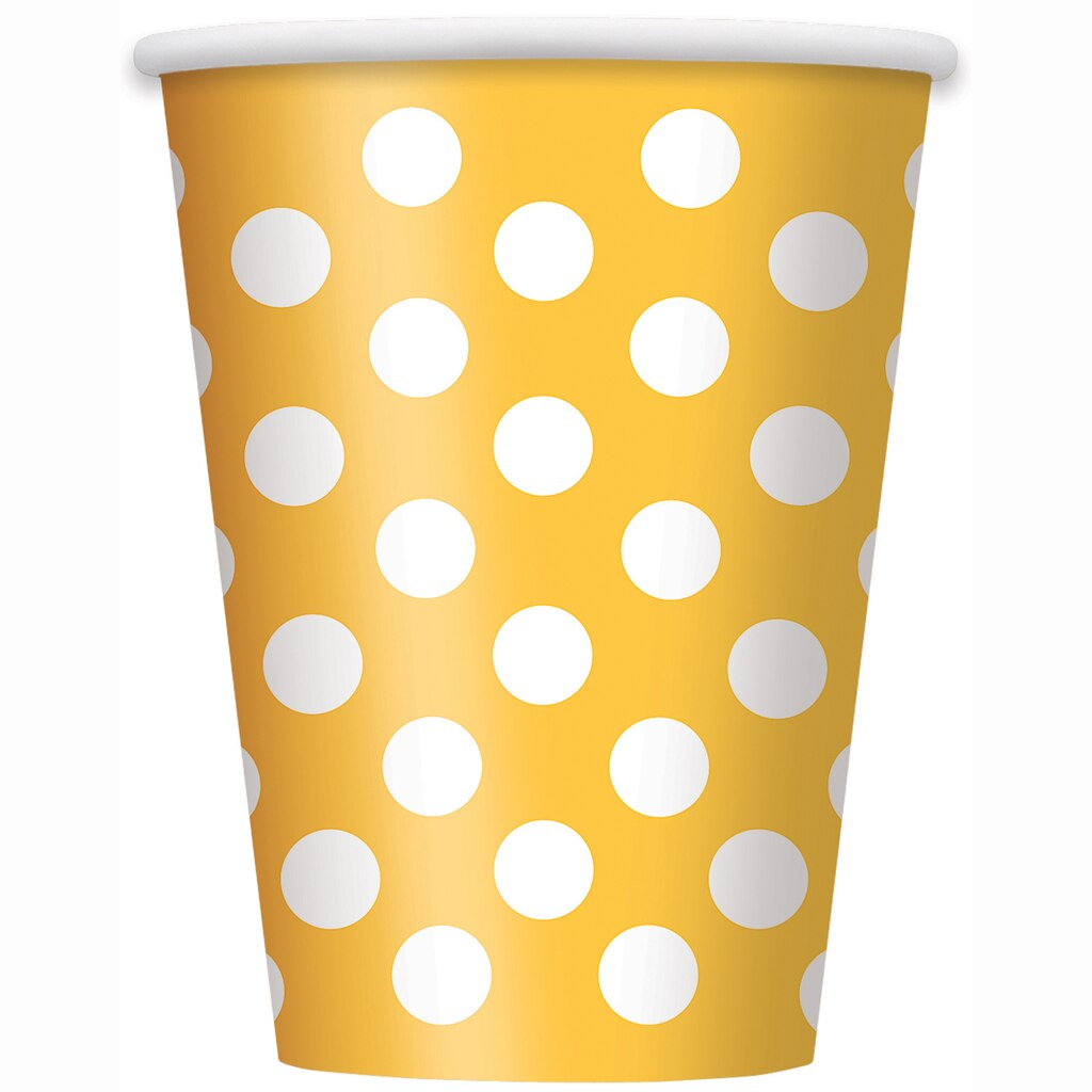 12oz. Yellow Polka Dots Paper Cups, 6ct