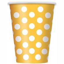 12oz Yellow Polka Dots Paper Cups, 6ct