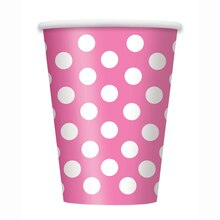 12oz Hot Pink Polka Dots Paper Cups, 6ct
