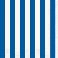 Royal Blue Striped Luncheon Napkins, 16ct