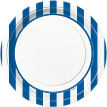 "9"" Royal Blue Striped Dinner Plates, 8ct"