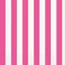 Hot Pink Striped Luncheon Napkins, 16ct