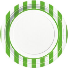 """9"""" Lime Green Striped Dinner Plates, 8ct"""