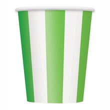 12oz Lime Green Striped Paper Cups, 6ct