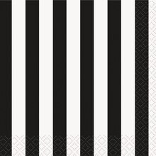 Black Striped Beverage Napkins, 16ct