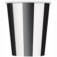 12oz Black Striped Paper Cups, 6ct