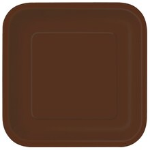 "7"" Square Brown Dessert Plates, 16ct"