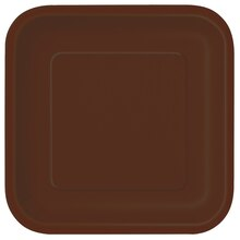 "9"" Square Brown Dinner Plates, 14ct"