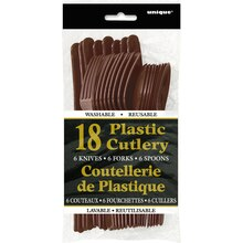 Assorted Plastic Cutlery Set for 6, Brown Package