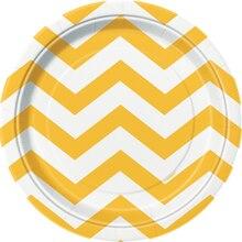 "7"" Yellow Chevron Dessert Plates, 8ct"