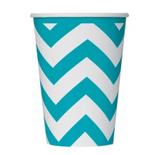 12oz Teal Chevron Paper Cups, 6ct