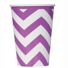 12oz Purple Chevron Paper Cups, 6ct