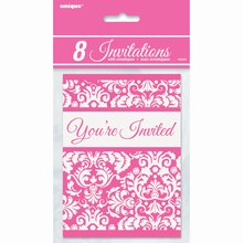 Pink Damask Invitations, 8ct