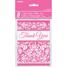 Pink Damask Thank You Notes, 8ct