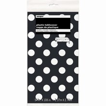 "aPlastic Black Polka Dots Table Cover, 108"" x 54"" Package"