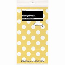 "Plastic Yellow Polka Dots Table Cover, 108"" x 54"" Package"